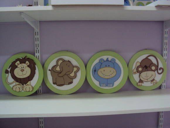 Quadros Para Quarto De Bebe Safari ~ QUADROS REDONDOS SAFARI  Loja de Marli Artes quarto de Bebe