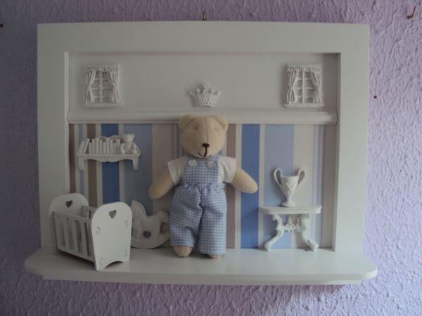 Quadro De Urso Para Quarto De Bebe ~ QUADRO COM URSINHO MENINO  Loja de Marli Artes quarto de Bebe